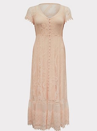 Plus Size Light Pink Lace Button Front Maxi Dress, NATURAL IVORY, flat