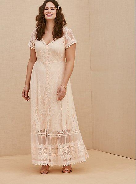 Plus Size Light Pink Lace Button Front Maxi Dress, NATURAL IVORY, hi-res