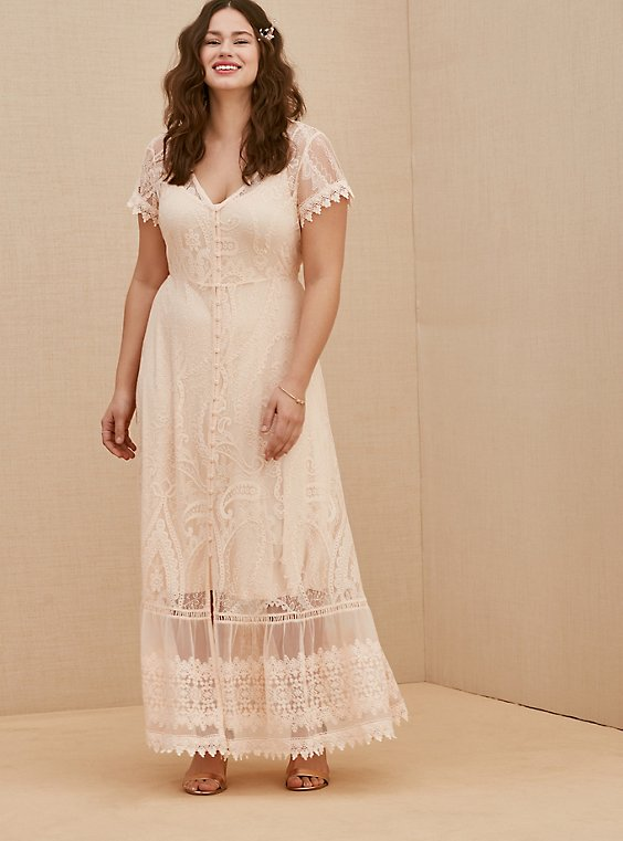 Light Pink Lace Button Front Maxi Dress, , hi-res