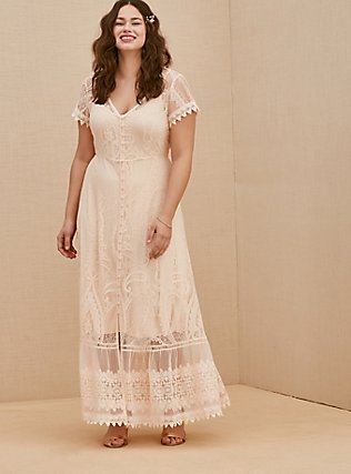 Plus Size Light Pink Lace Button Front Maxi Dress, NATURAL IVORY, hi-res