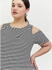 Plus Size Black & White Stripe Jersey Cold Shoulder Mini Shift Dress, STRIPE-BLACK WHITE, alternate