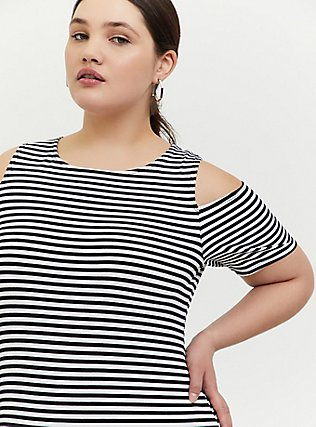 Plus Size Black & White Stripe Jersey Cold Shoulder Mini Shift Dress, STRIPE-BLACK WHITE, alternate