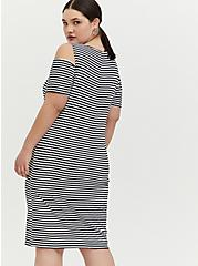Black & White Stripe Jersey Cold Shoulder Mini Shift Dress, STRIPE-BLACK WHITE, alternate