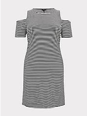 Plus Size Black & White Stripe Jersey Cold Shoulder Mini Shift Dress, STRIPE-BLACK WHITE, hi-res