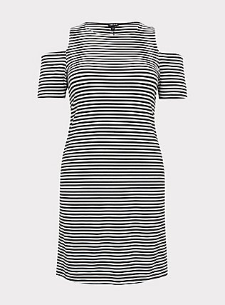 Plus Size Black & White Stripe Jersey Cold Shoulder Mini Shift Dress, STRIPE-BLACK WHITE, flat