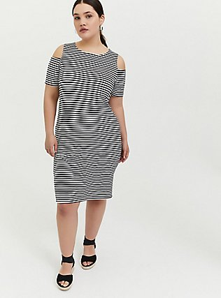 Plus Size Black & White Stripe Jersey Cold Shoulder Mini Shift Dress, STRIPE-BLACK WHITE, hi-res