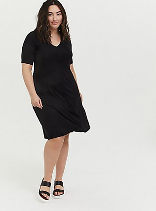 Black Jersey Fit & Flare dress, DEEP BLACK, alternate