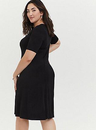 Plus Size Black Jersey Fit & Flare dress, DEEP BLACK, alternate