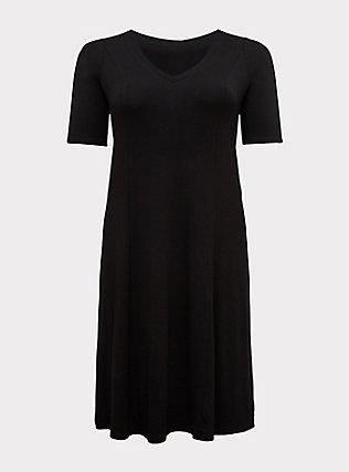 Plus Size Black Jersey Fit & Flare dress, DEEP BLACK, flat