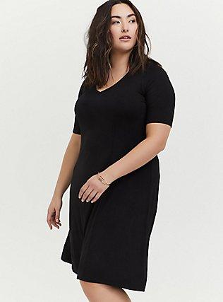 Plus Size Black Jersey Fit & Flare dress, DEEP BLACK, hi-res