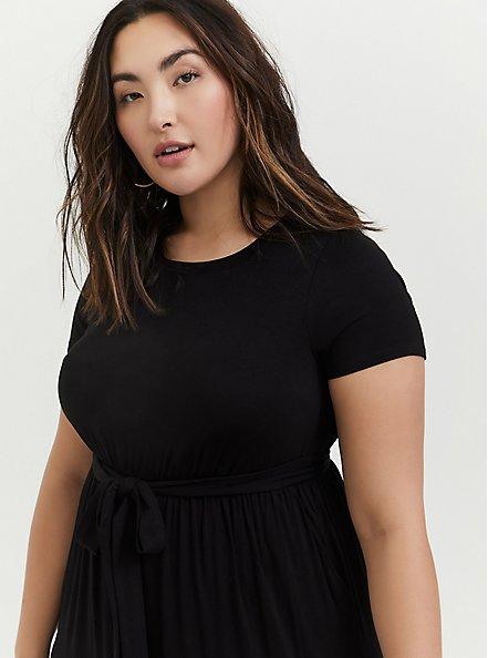 Black Jersey Self Tie Tiered Midi Dress, DEEP BLACK, alternate