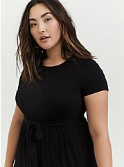 Black Jersey Self Tie Tiered Midi Dress, DEEP BLACK, alternate