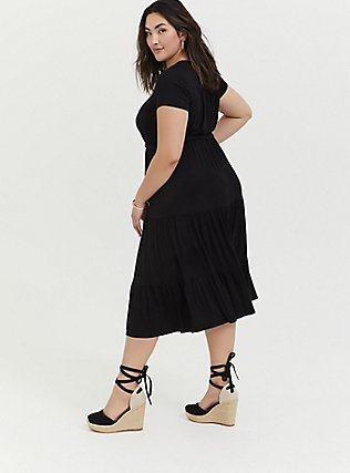 Black Jersey Tiered Midi Dress, DEEP BLACK, alternate