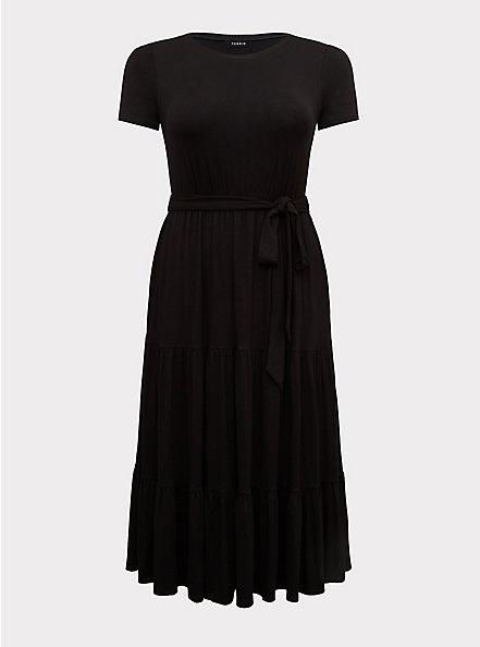 Black Jersey Self Tie Tiered Midi Dress, DEEP BLACK, hi-res