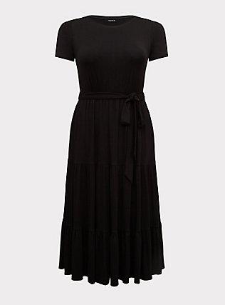 Black Jersey Tiered Midi Dress, DEEP BLACK, flat