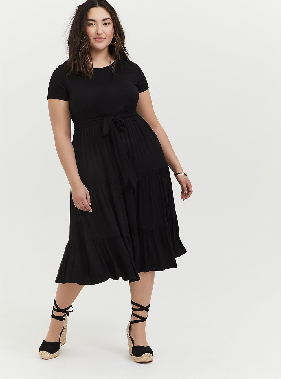 Black Jersey Self Tie Tiered Midi Dress, DEEP BLACK, hi-res