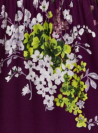 Berry Purple Floral Jersey Tiered Midi Dress, FLORAL - PURPLE, alternate