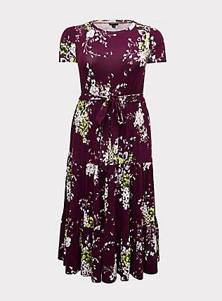 Plus Size Berry Purple Floral Jersey Tiered Midi Dress, FLORAL - PURPLE, flat