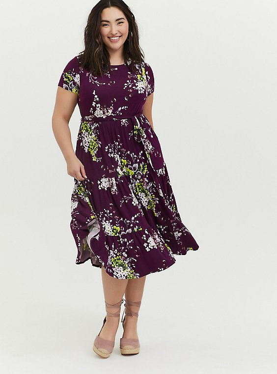 Berry Purple Floral Jersey Tiered Midi Dress, , hi-res