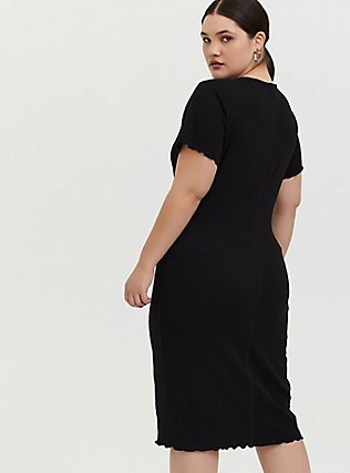 Black Smocked Bodycon Dress, DEEP BLACK, alternate