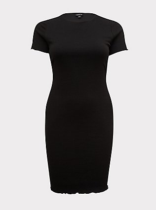 Black Smocked Bodycon Dress, DEEP BLACK, flat
