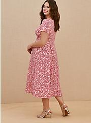 Fuchsia Pink Floral Scuba Knit Midi Dress, FLORAL - PINK, alternate