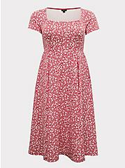 Fuchsia Pink Floral Scuba Knit Midi Dress, FLORAL - PINK, hi-res