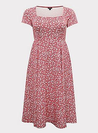 Fuchsia Pink Floral Scuba Knit Midi Dress, FLORAL - PINK, flat