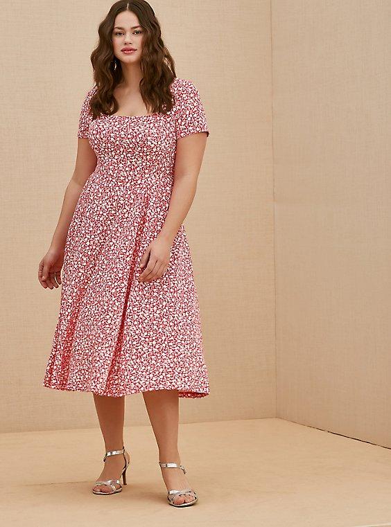 Fuchsia Pink Floral Scuba Knit Midi Dress, , hi-res