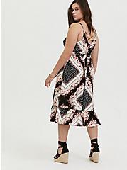 Scarf Print Challis Shirred Hem Midi Dress, SCARF - PINK, alternate