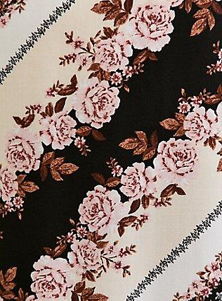Plus Size Scarf Print Challis Shirred Hem Midi Dress, SCARF - PINK, alternate