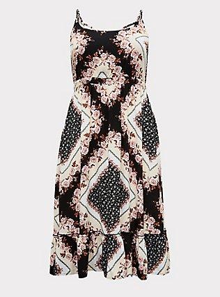 Plus Size Scarf Print Challis Shirred Hem Midi Dress, SCARF - PINK, flat