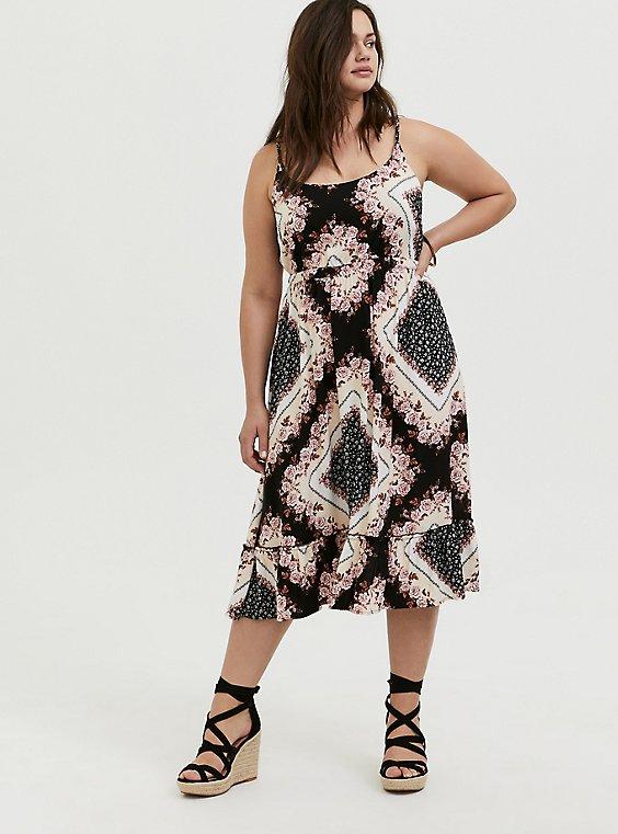 Scarf Print Challis Shirred Hem Midi Dress, , hi-res