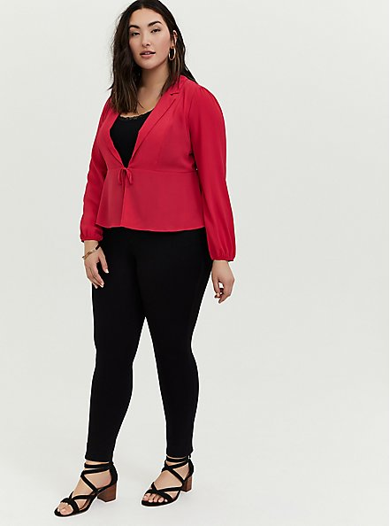 Fuchsia Pink Crepe Tie Front Peplum Jacket, PINK PASSION, alternate