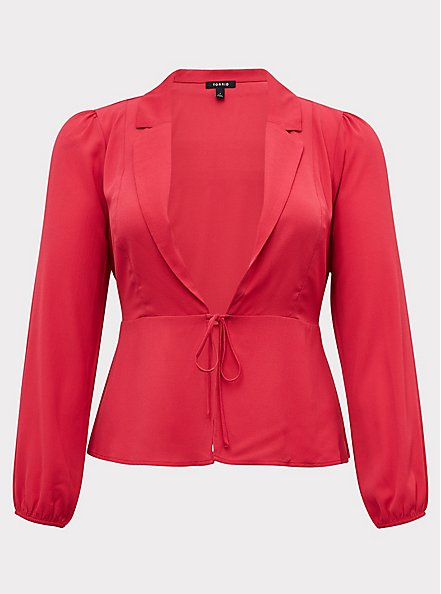 Fuchsia Pink Crepe Tie Front Peplum Jacket, PINK PASSION, hi-res