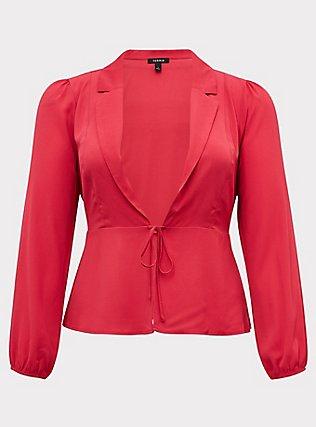 Fuchsia Pink Crepe Tie Front Peplum Jacket, PINK PASSION, flat