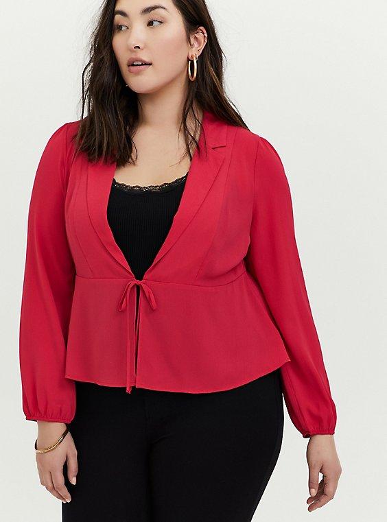 Fuchsia Pink Crepe Tie Front Peplum Jacket, , hi-res