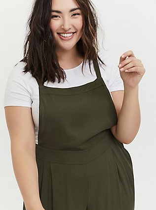 Olive Green Crepe Wide Leg Jumpsuit, DEEP DEPTHS, alternate