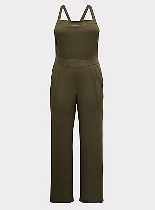 Olive Green Crepe Wide Leg Jumpsuit, DEEP DEPTHS, flat