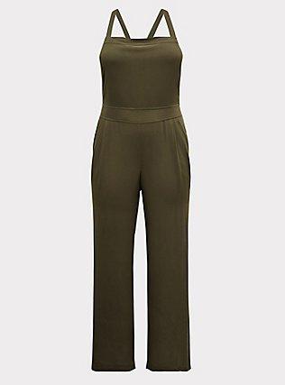 Plus Size Olive Green Crepe Wide Leg Jumpsuit, DEEP DEPTHS, flat