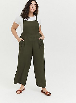 Olive Green Crepe Wide Leg Jumpsuit, DEEP DEPTHS, hi-res