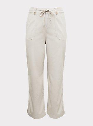 Ivory Drawstring Wide Leg Pant, WIND CHIME, flat