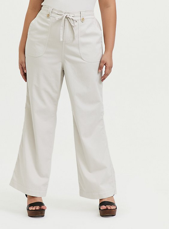 Plus Size Ivory Drawstring Wide Leg Pant, , hi-res