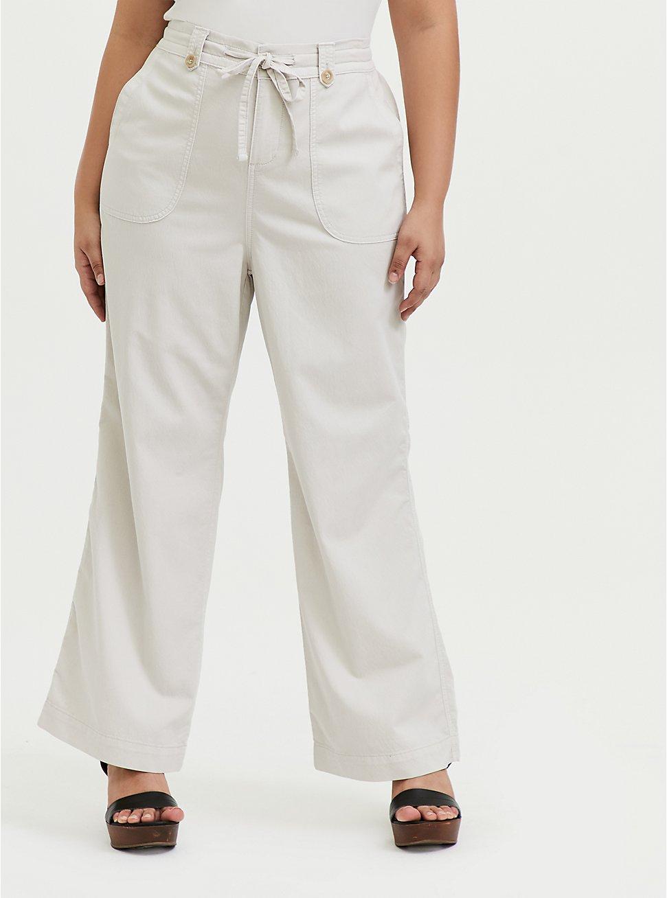 Plus Size Ivory Drawstring Wide Leg Pant, WIND CHIME, hi-res