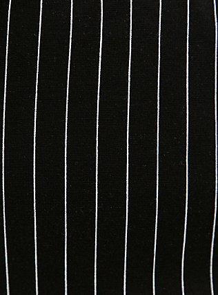 Black & White Pinstripe Ponte Paperbag Waist Tapered Pant, STRIPE -BLACK, alternate