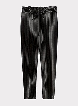 Black & White Pinstripe Ponte Paperbag Waist Tapered Pant, STRIPE -BLACK, flat