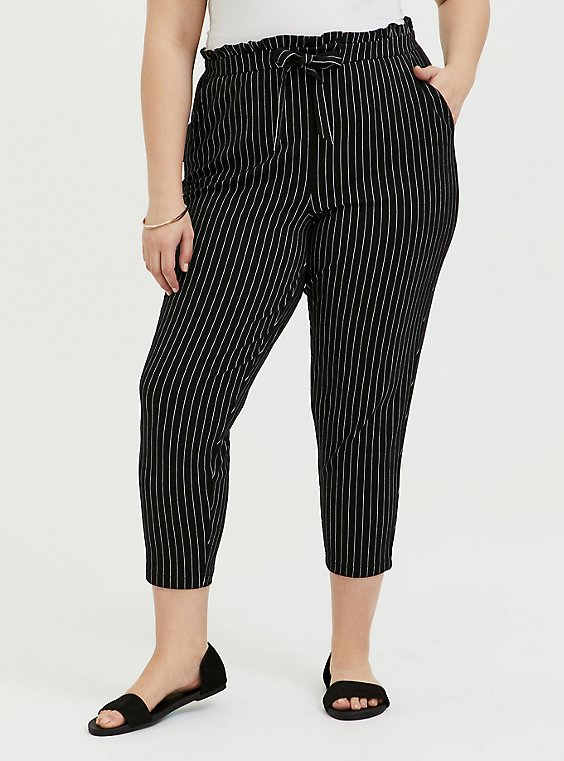 Plus Size Black & White Pinstripe Ponte Paperbag Waist Tapered Pant, , hi-res