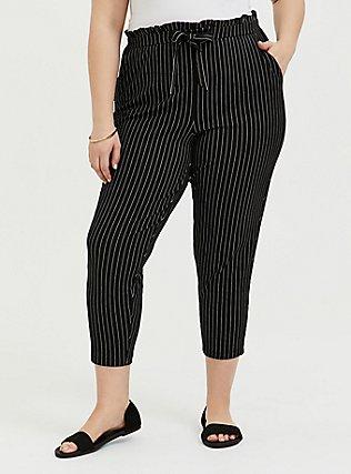Premium Ponte Tie Front Tapered Pant - Black Pinstripe , STRIPE -BLACK, hi-res