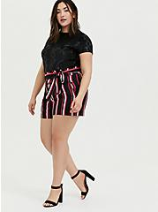 Self Tie Mid Short - Black & Fuchsia Pink Stripe, STRIPES, alternate
