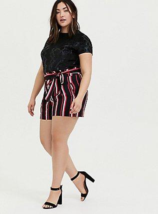 Self Tie Mid Short - Black & Fuchsia Pink Stripe, STRIPES, alternate
